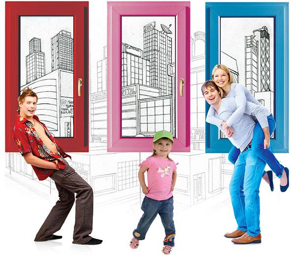 Цветные окна ПВХ, цветной профиль, пластиковые окна