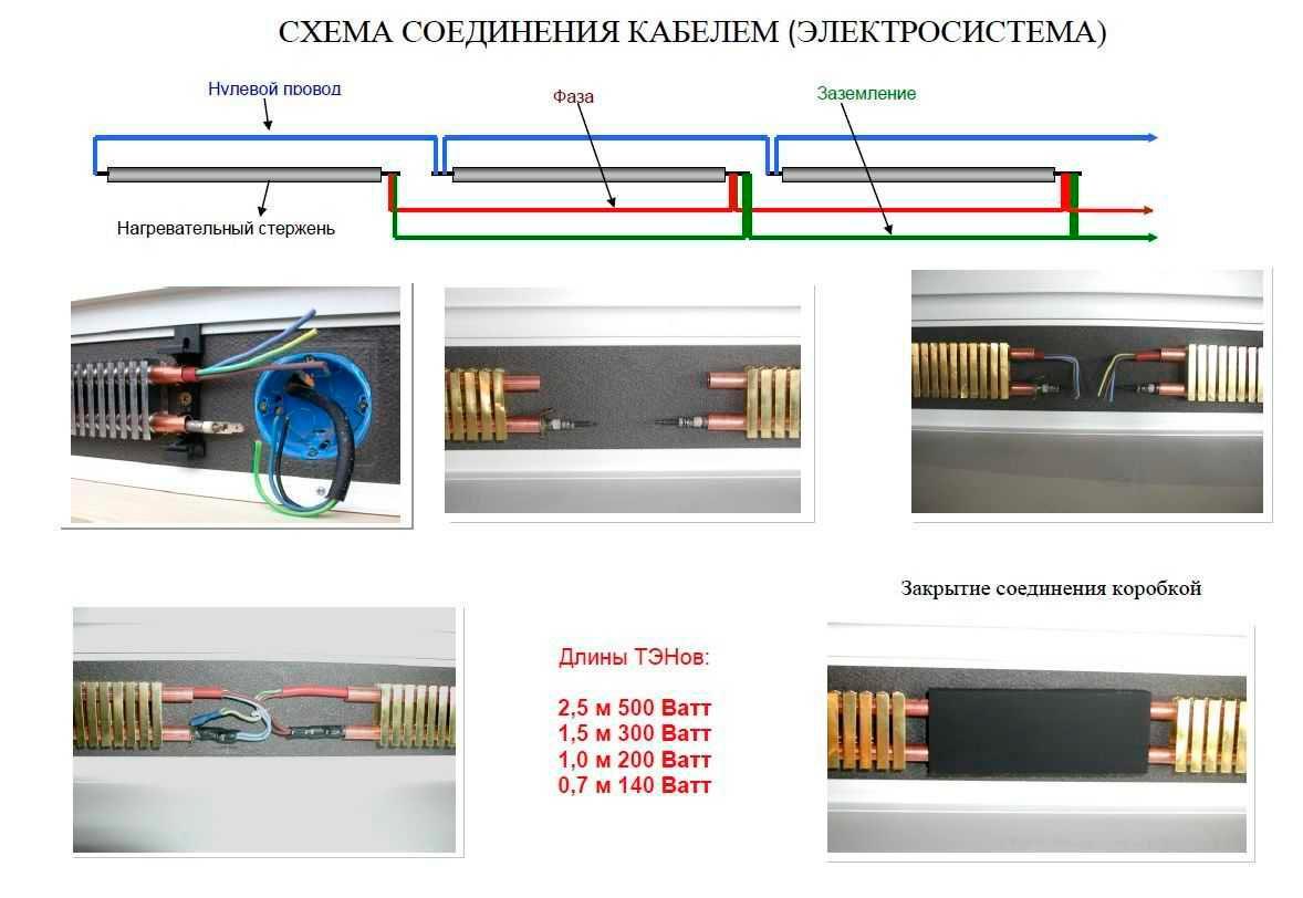 схема подключения горячего электрического плинтуса