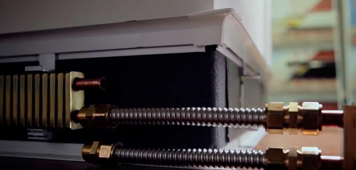 гибкая фурнитура для теплого плинтуса в прямом сечении