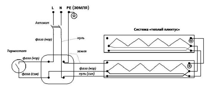 схема подключения ТЭНа в теплой розетке