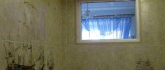 окно между кухней и ванной
