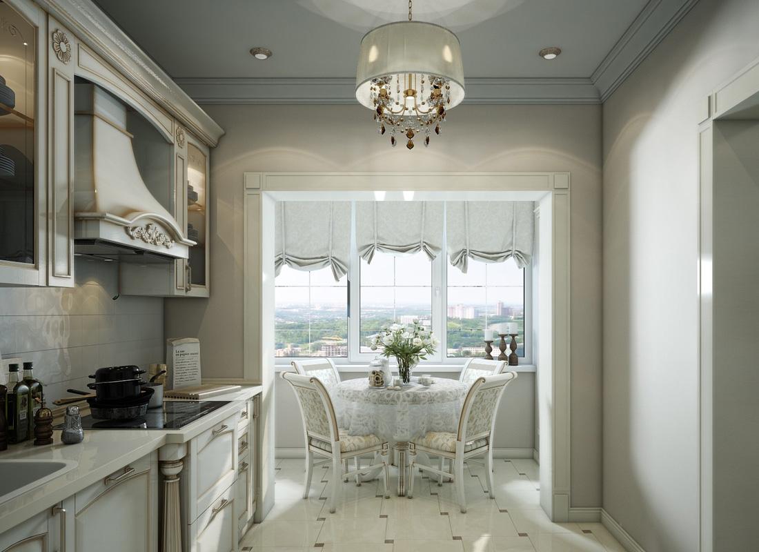 Кухня с балконом в классическом стиле