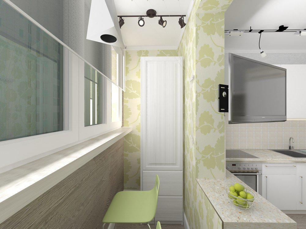 Оформление границы балкона и кухни