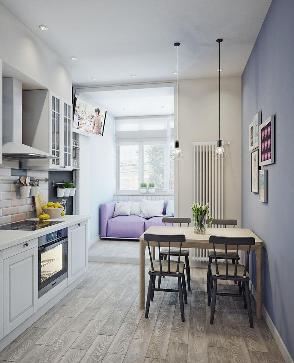 Кухня с балконом в скандинавском стиле