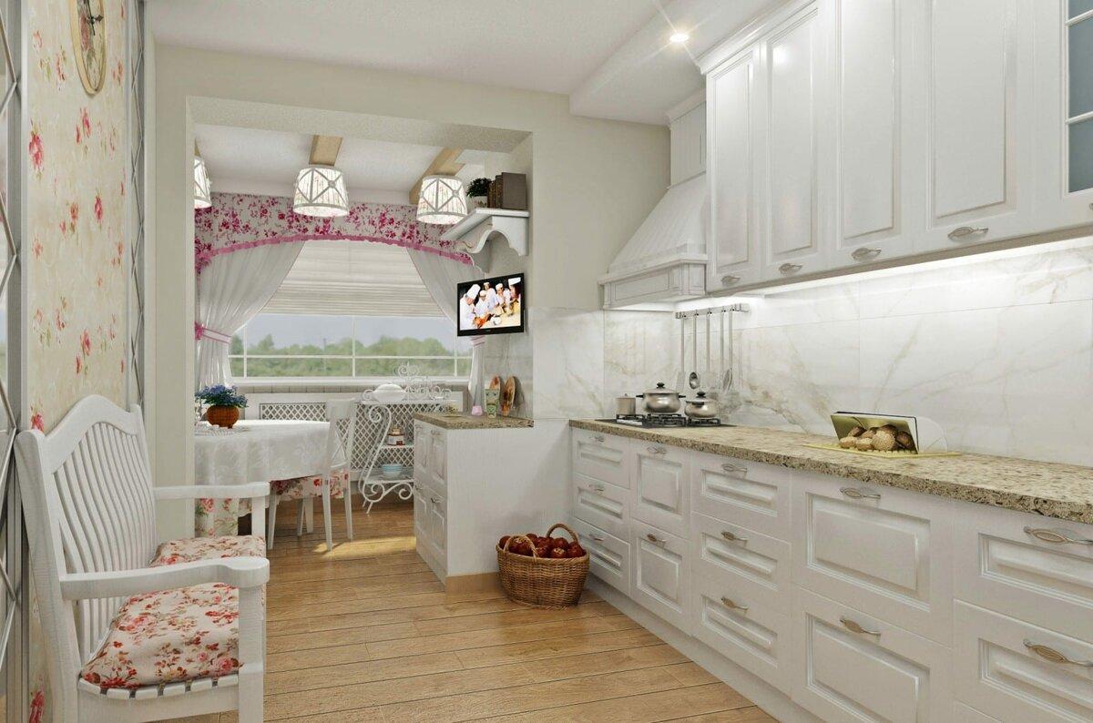 Кухня с балконом в стиле прованс